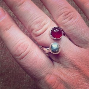 Handmade sterling silver and carnelian ring